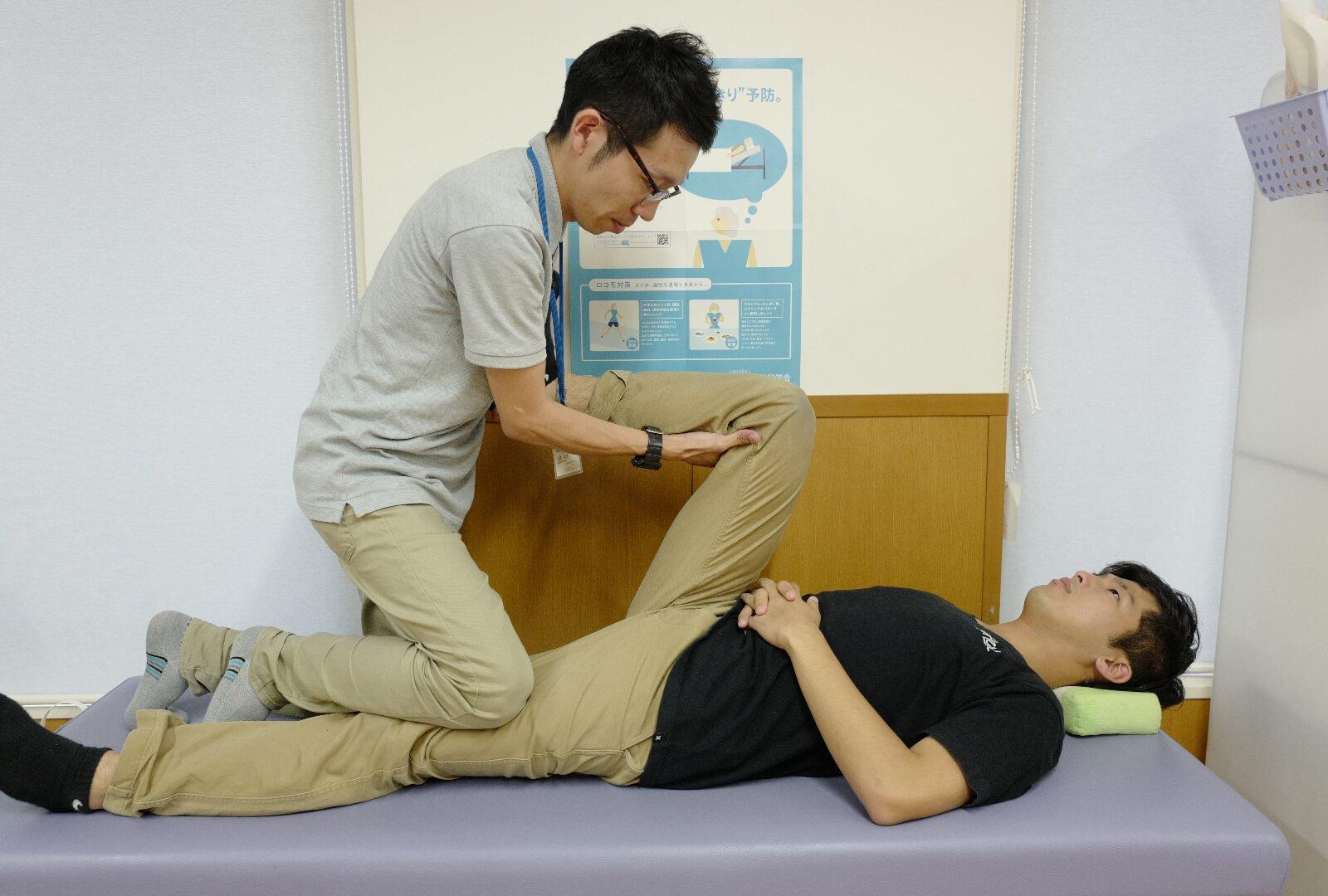 股関節の関節可動ストレッチ