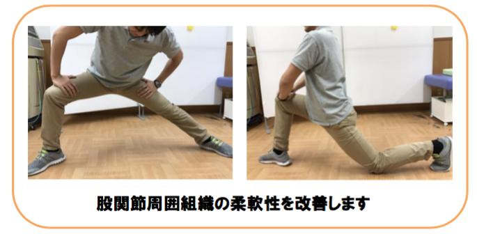 股関節周囲組織の柔軟性を改善します。