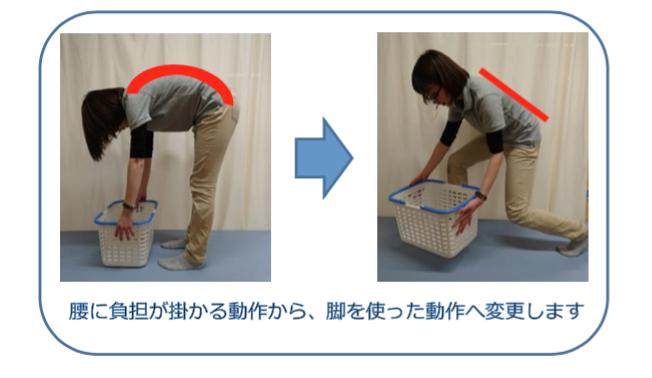 腰部椎間板ヘルニア 腰に負担が掛かる動作から、脚を使った動作へ変更します